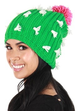 Adult Cactus Knit Slouch Beanie