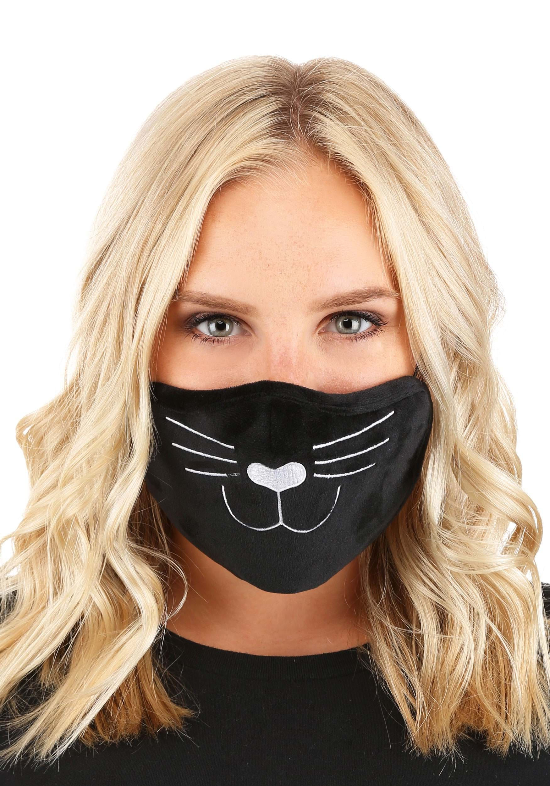 Black Cat Face Mask for Adults