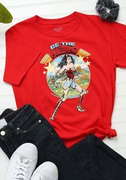 Kids Wonder Woman Be The Hero Red T-Shirt