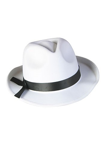 White Fedora Mobster Hat