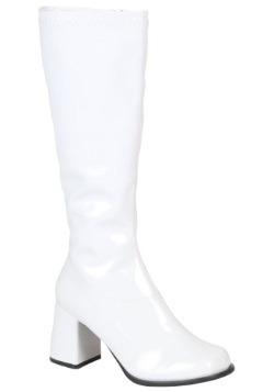 Women's Wide Calf White Disco Boots