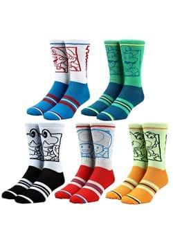 Nintendo Character Colorblock 5 Pair Crew Socks