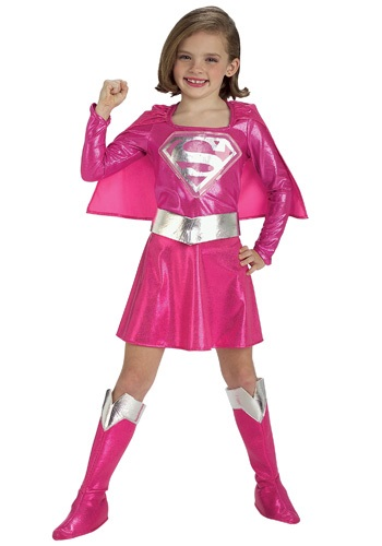 Girls Supergirl Pink Dress